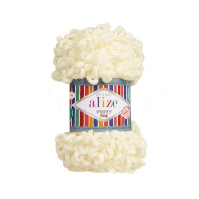 ALIZE PUFFY FINE - 62 LIGHT CREAM