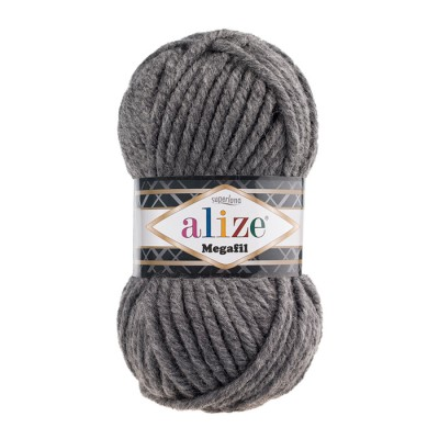 ALIZE SUPERLANA MEGAFIL - 182 MEDIUM GRAY MELANGE