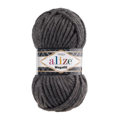 ALIZE SUPERLANA MEGAFIL - 196 DARK GRAY MELANGE